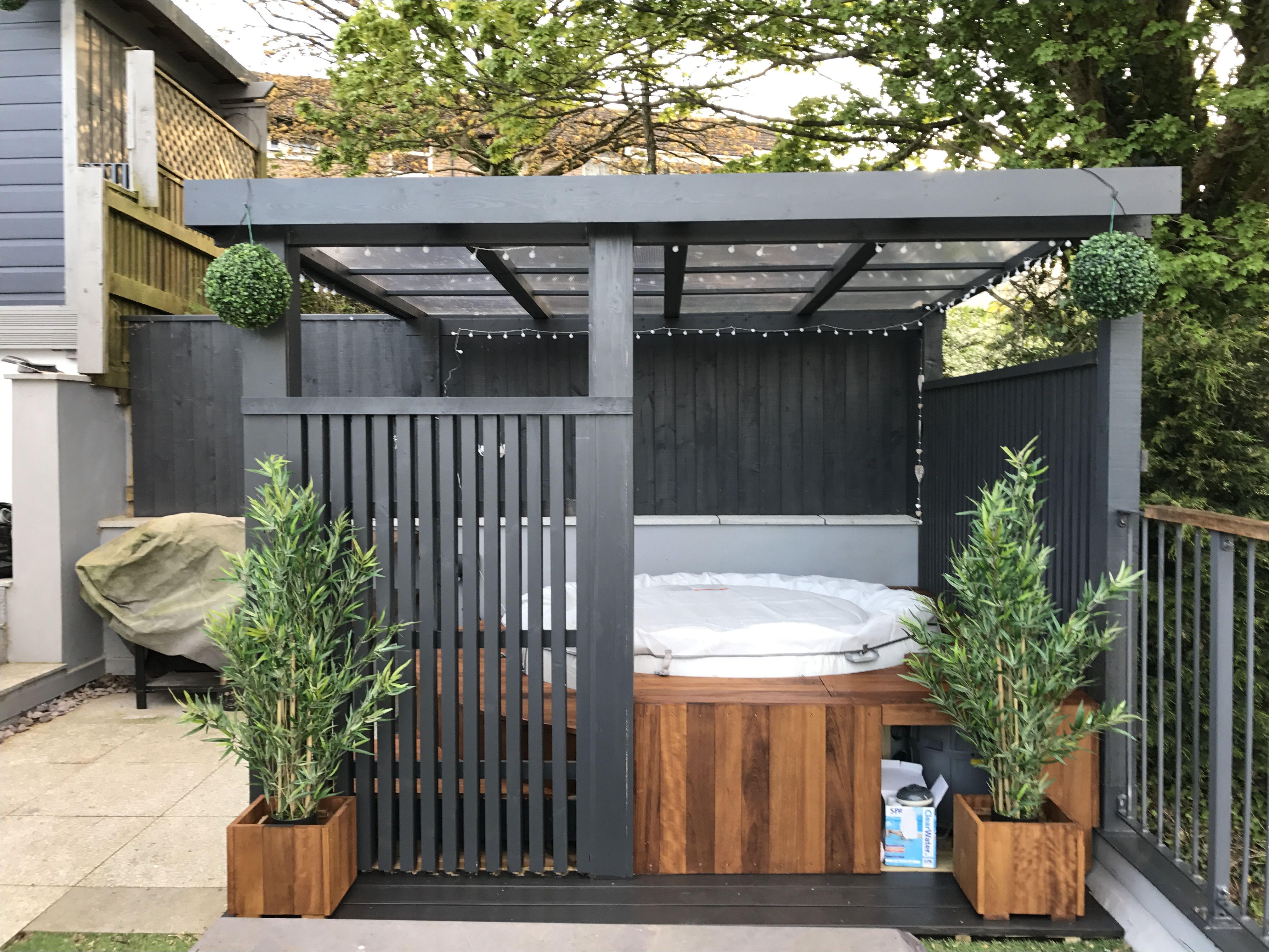 Hot Tub Designs and Layouts Modern Grey Pergola Lazy Spa Hot Tub Iroko Surround House Hot