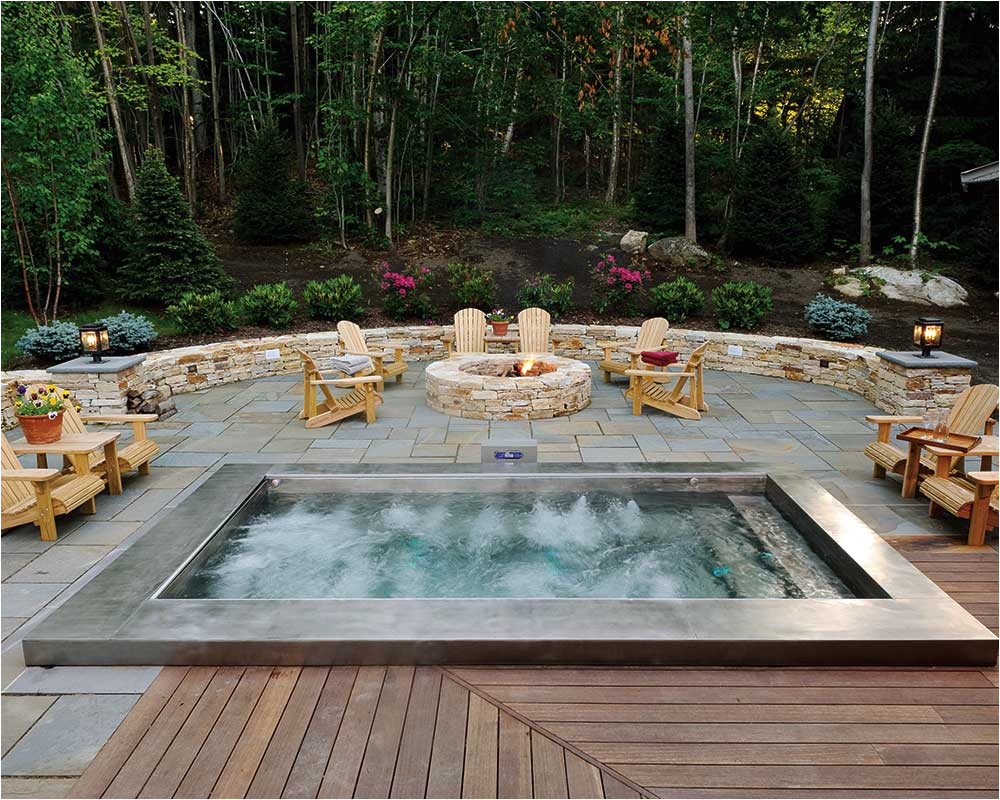 custom stainless steel spa with automatic retractable safety cover with interior entry steps and cool down