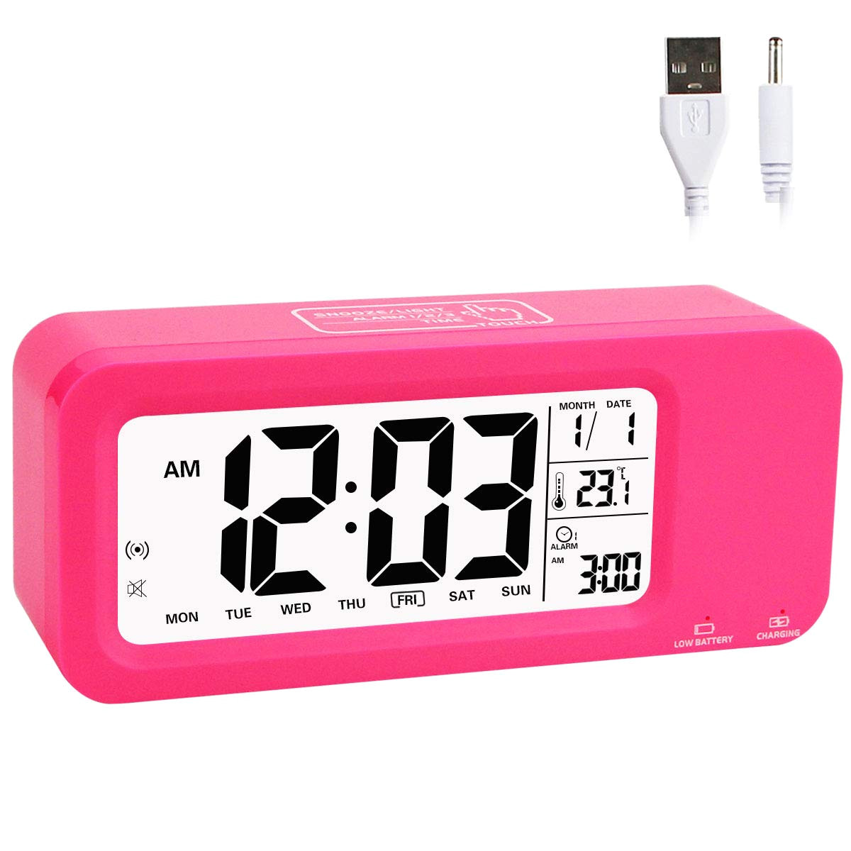 amazon com aitey alarm clock for kids talking digital clock with built in rechargeble battery 3 alarms low light sensor technology for girls and boys