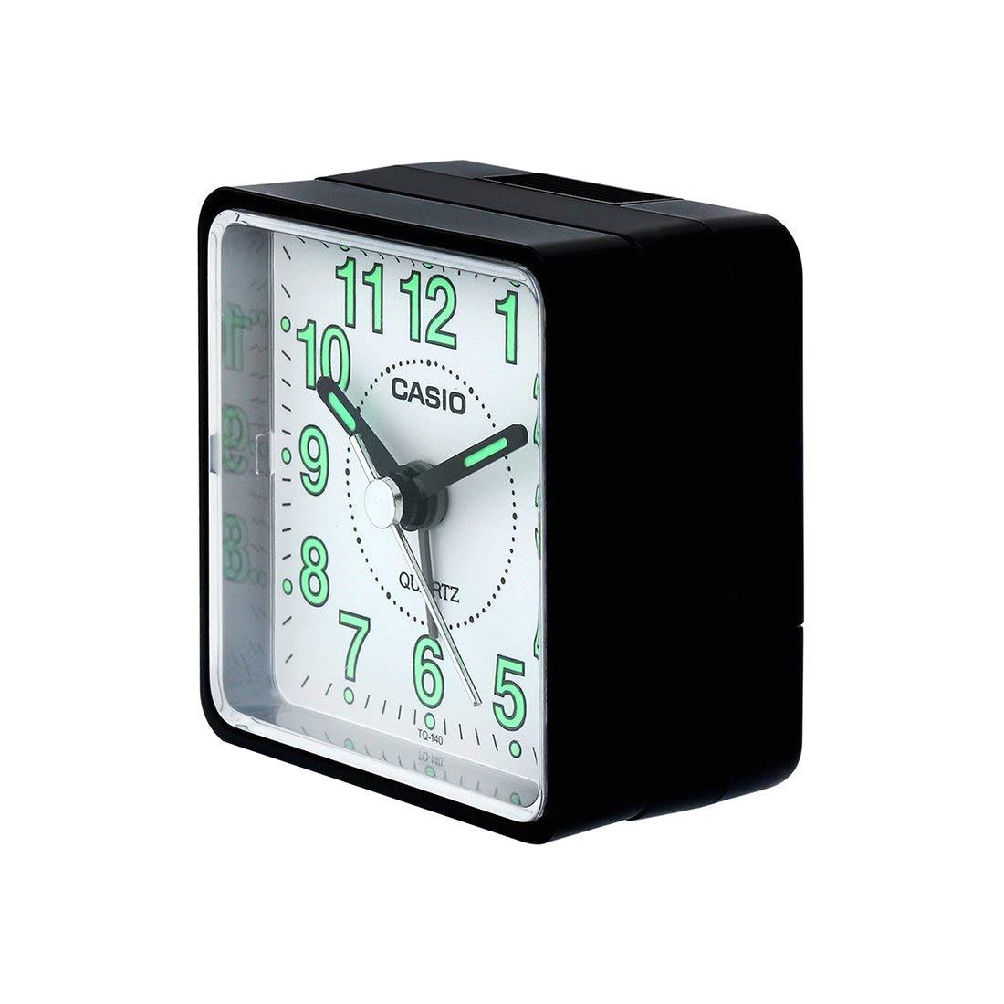 amazon com casio tq140 travel alarm clock bla clock radios electronics