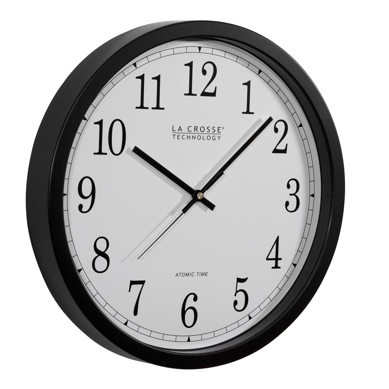 amazon com la crosse technology wt 3143a int 14 inch atomic wall clock black home kitchen