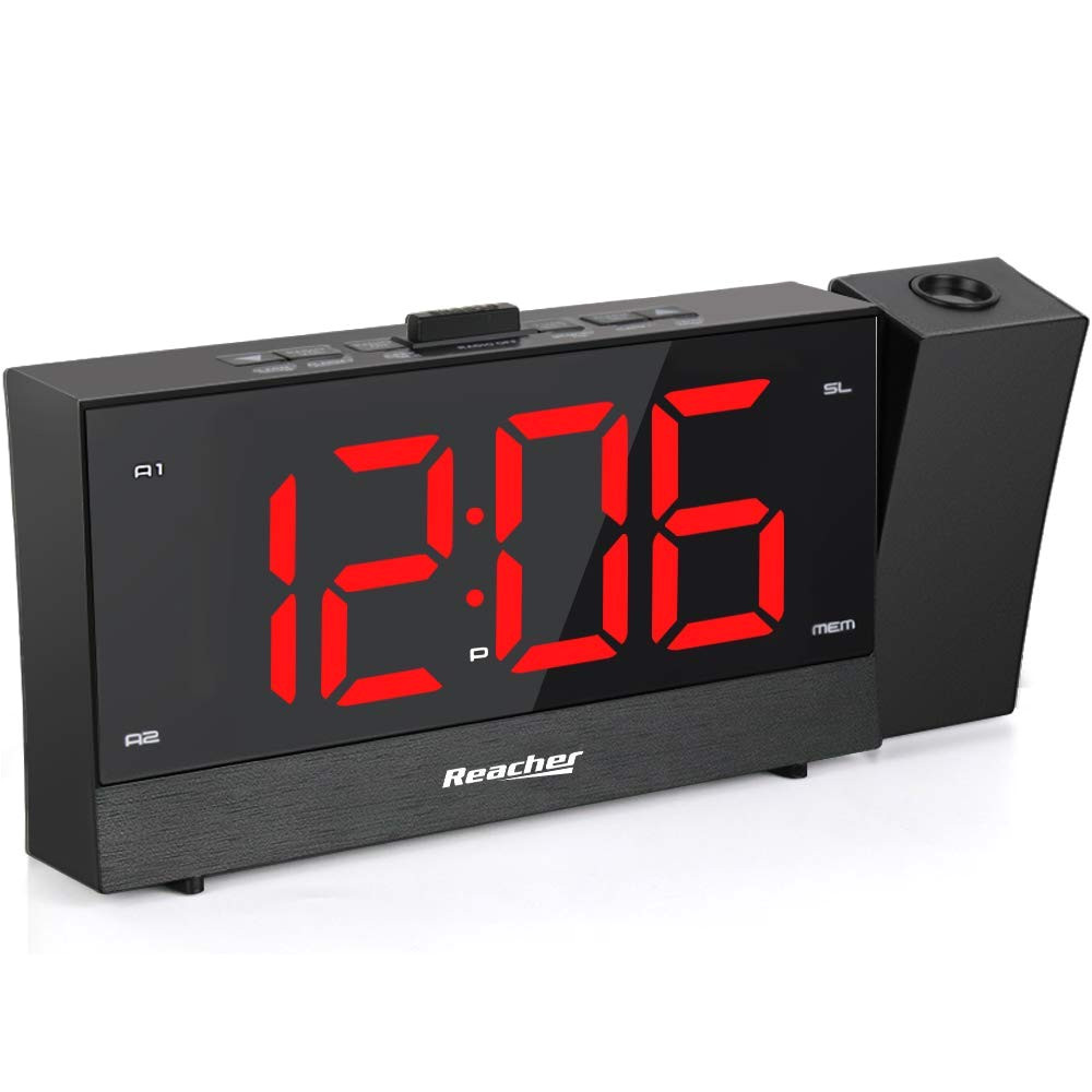 amazon com reacher projection alarm clock radio with dual alarm usb sleep timer 0 100 dimmer and snooze time option for bedroom electronics
