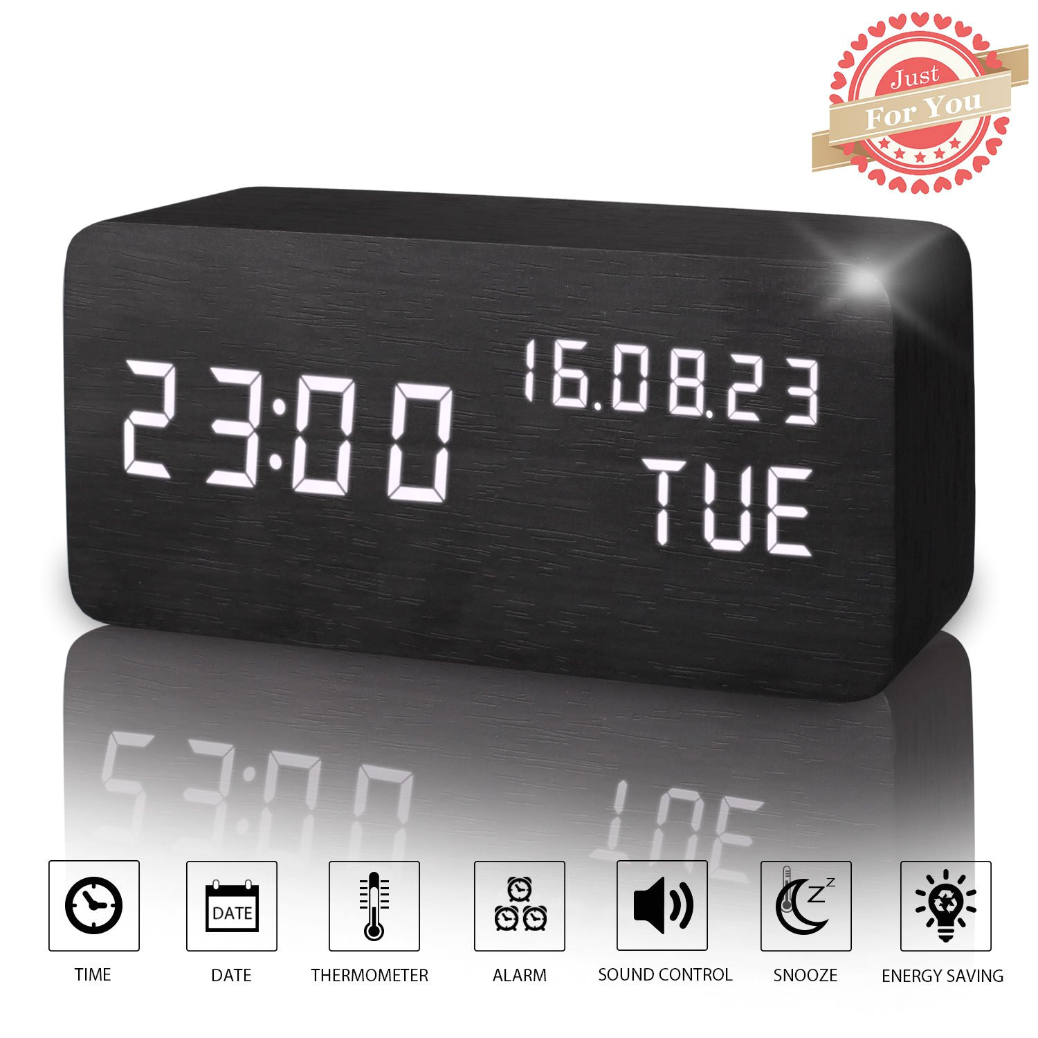 amazon com wooden led digital alarm clock displays time date week and temperature cube wood shaped sound control desk alarm clock for kid home office