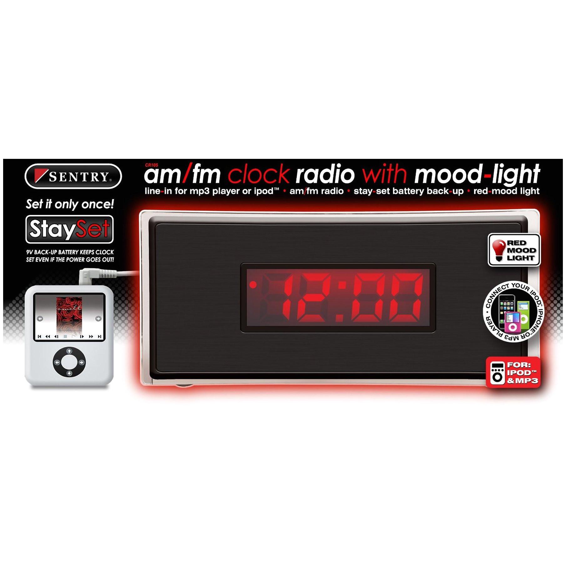 srt appliance parts cr105 sentry am fm radio clock with mood light
