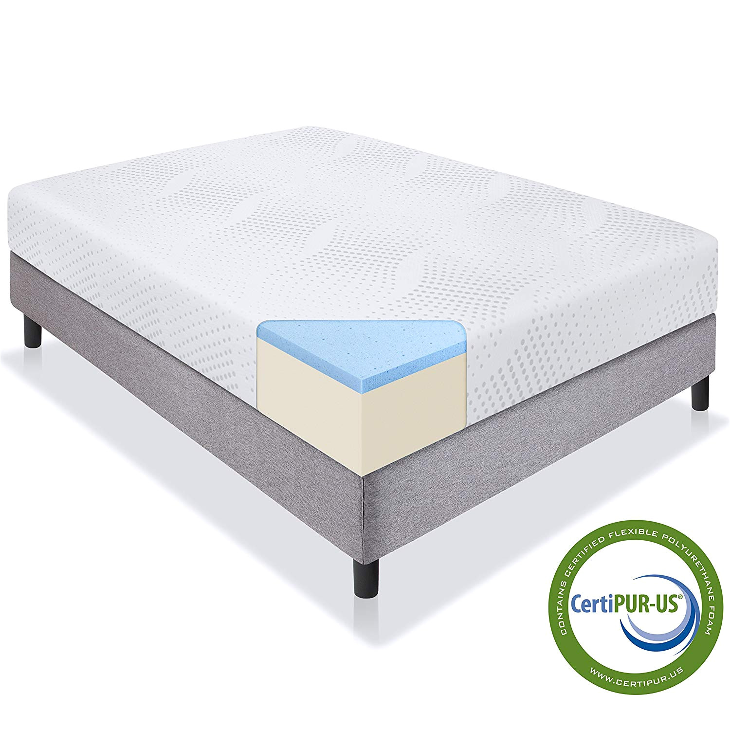 amazon com best choice products 10in full size dual layered gel memory foam mattress w certipur us certified foam home kitchen