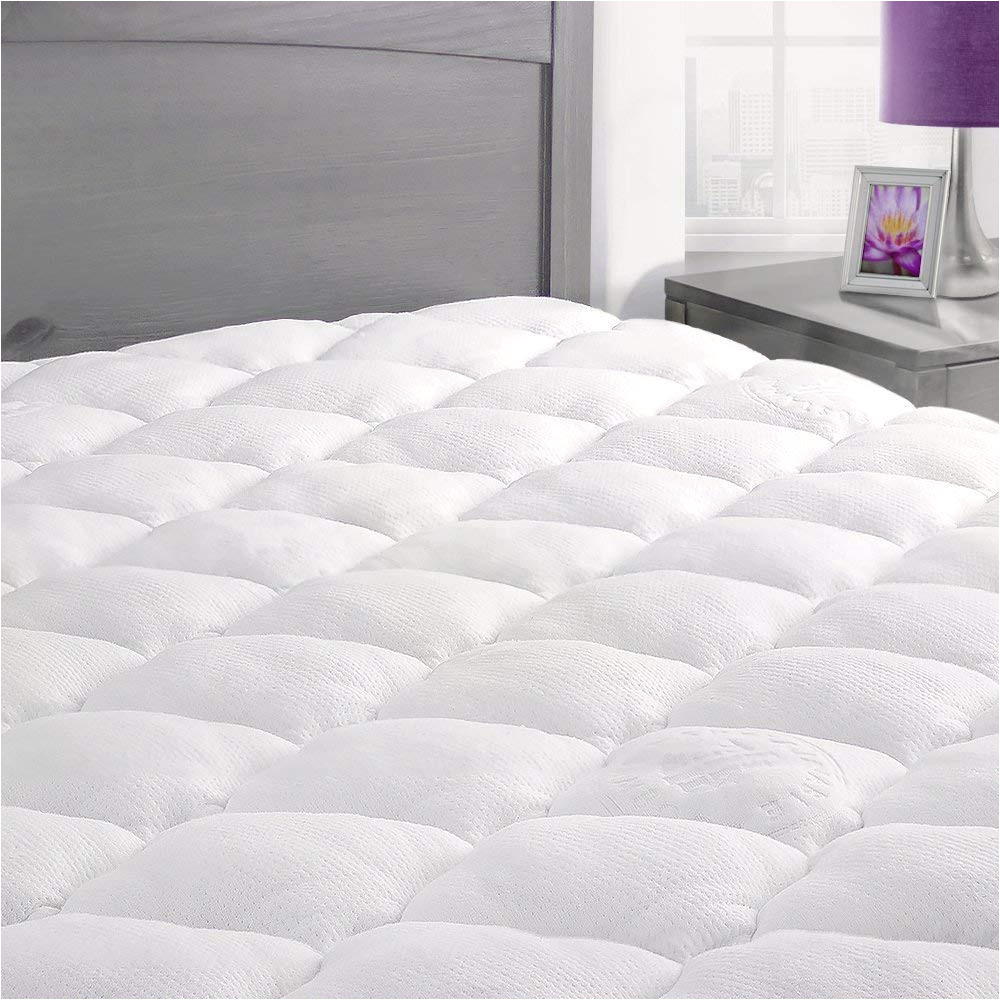 amazon com exceptionalsheets rayon from bamboo mattress pad with fitted skirt extra plush cooling topper hypoallergenic made in the usa queen home