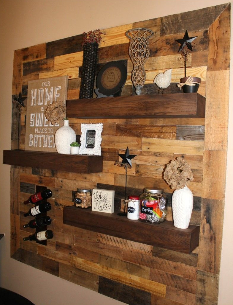 How to Decorate A Half Wall Ledge Dining Room Remodel Pallet Wall Floating Shelves Diy Home