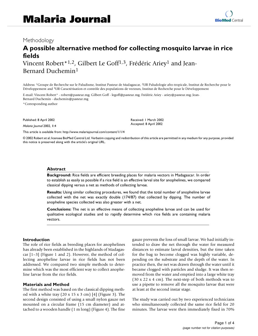 pdf a possible alternative method for collecting mosquito larvae in rice fields