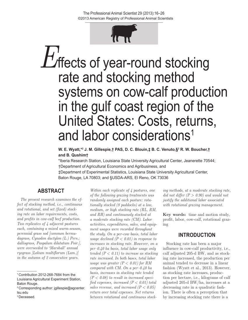 pdf effects of year round stocking methods and stocking rates on seasonal forage response and cow calf weight gain in the gulf coast region of the united