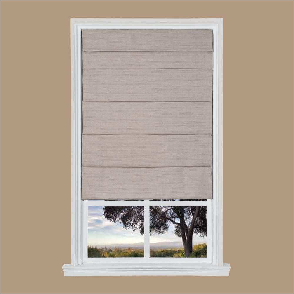 light brown texture cordless fabric roman shade 23 in w