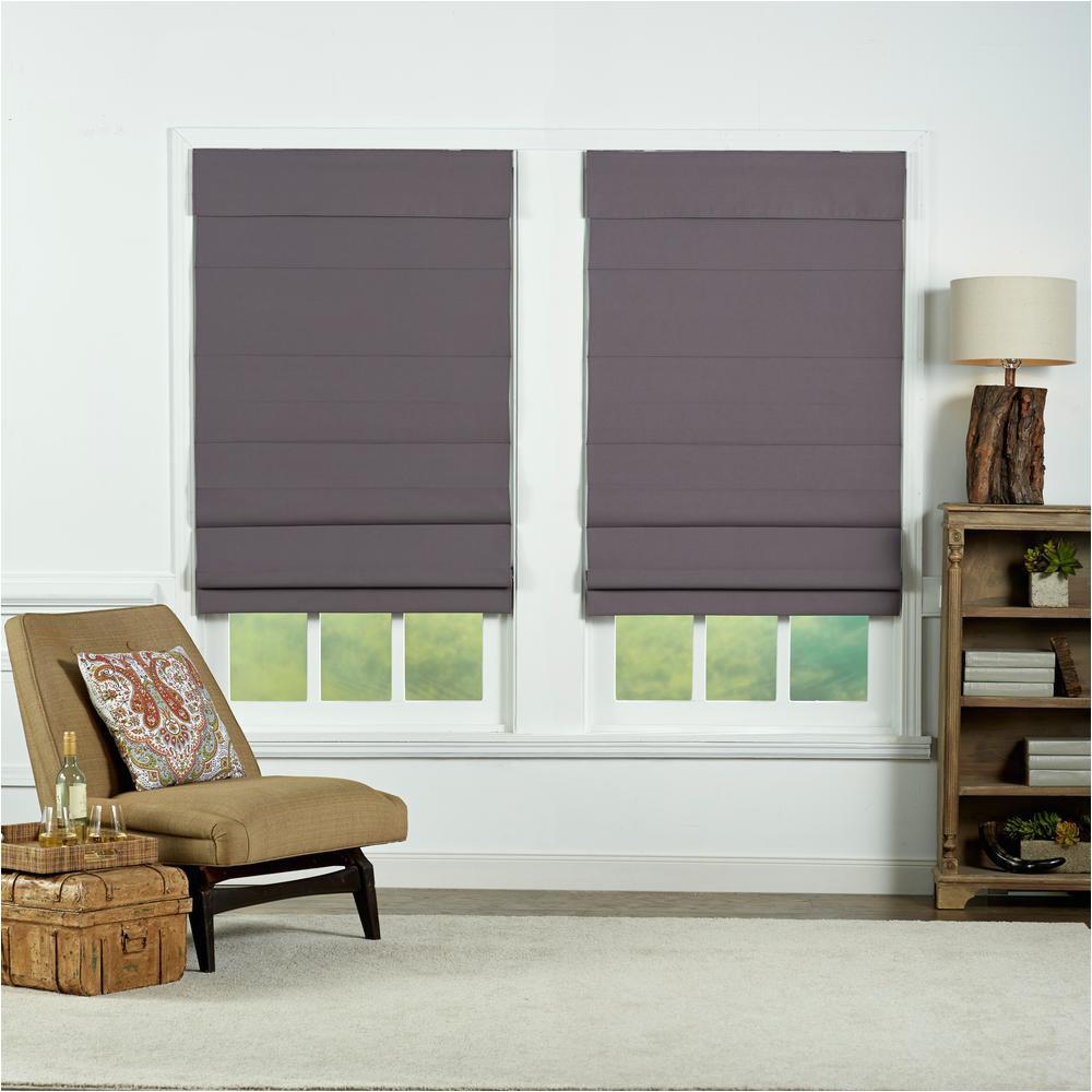 gray insulating cordless cotton roman shade 24 in w x