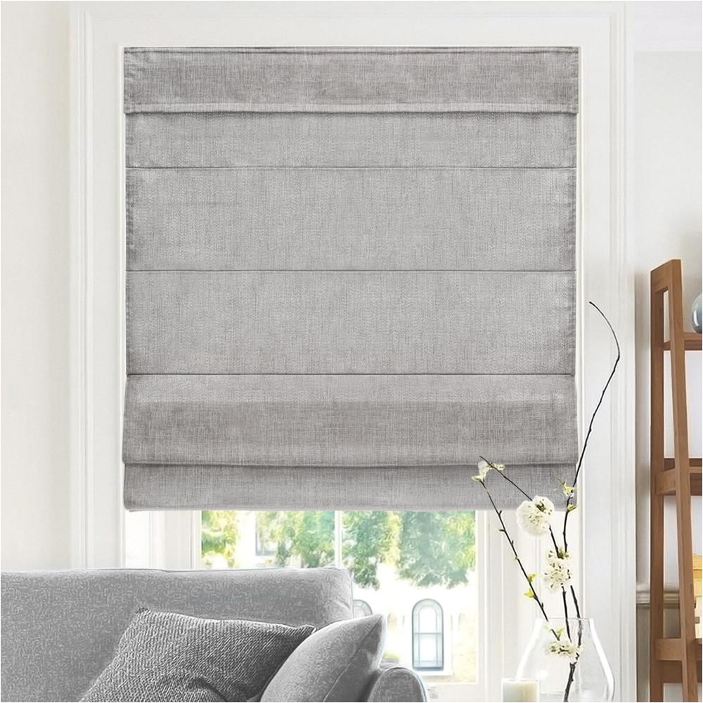 cut to width denim cordless fabric roman shade 34 in w x