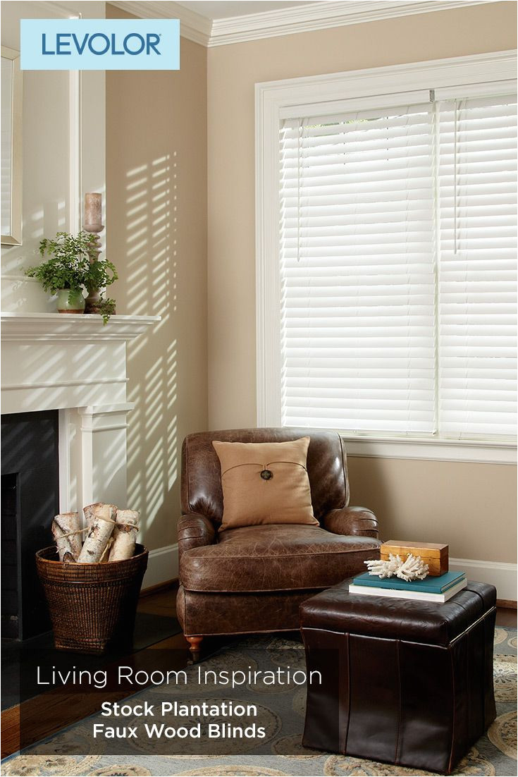 home living room inspiration stock plantation faux wood blinds