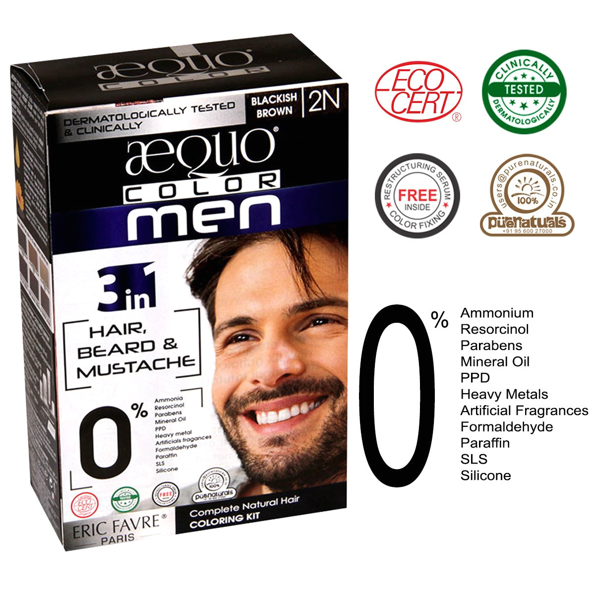 buy aequo organic 100 skin safe natural soft black beard and hair colour 2n no powder ppd ammonia free halal clinically certified online at low prices