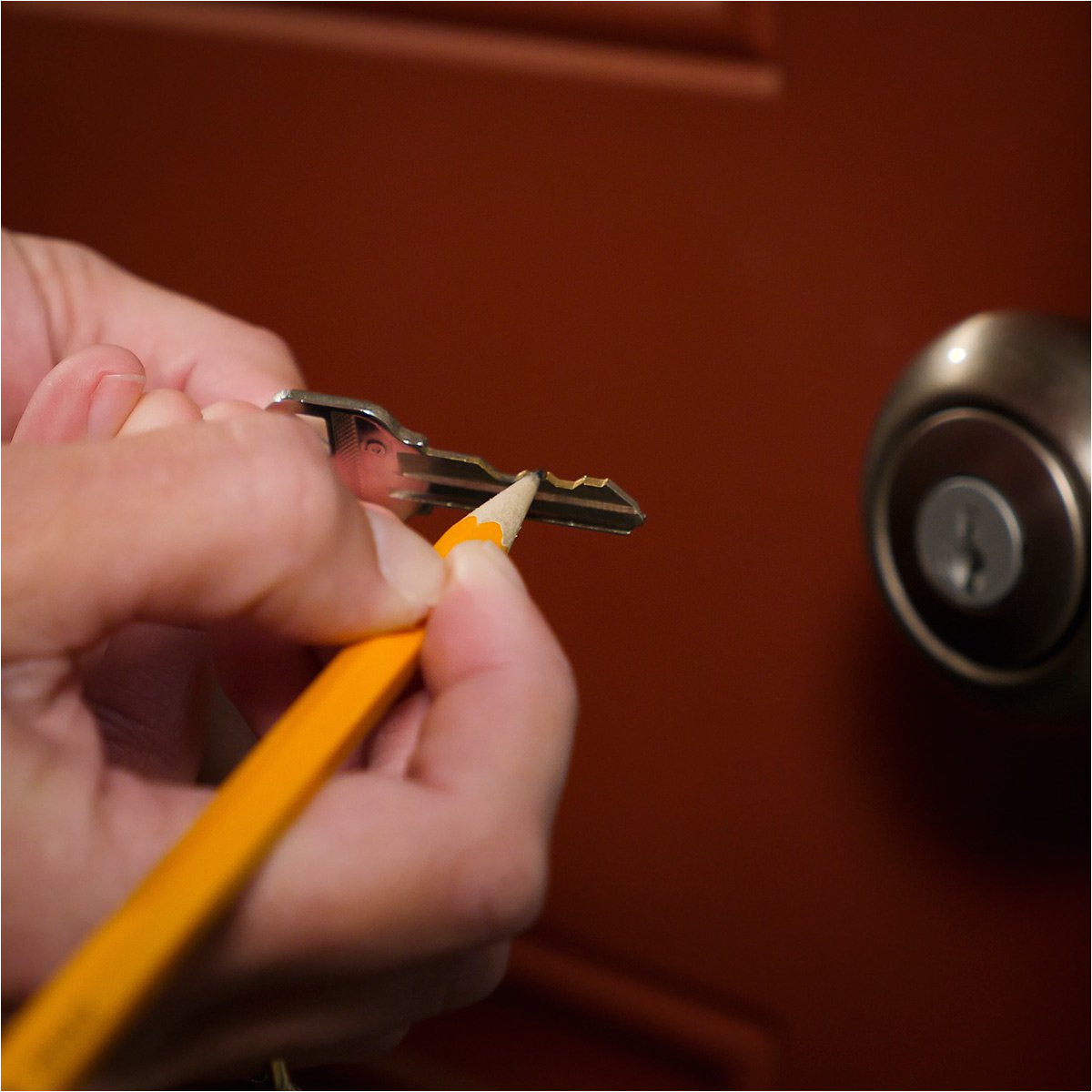 lubricate a lock with a pencil