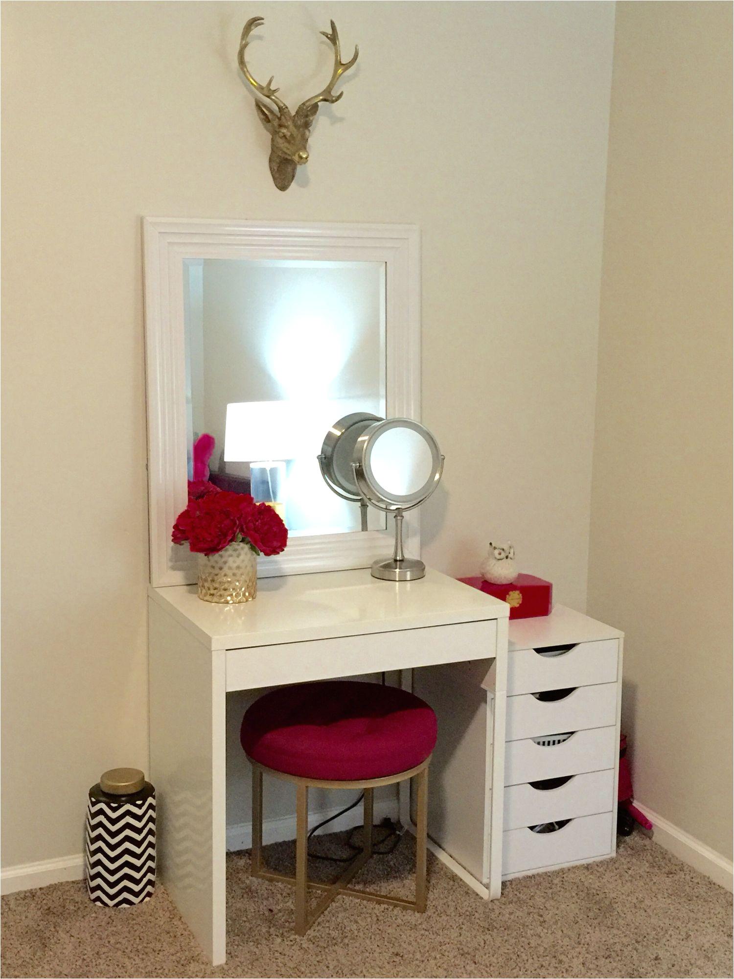 makeup vanity ikea micke desk target threshold pink ottoman