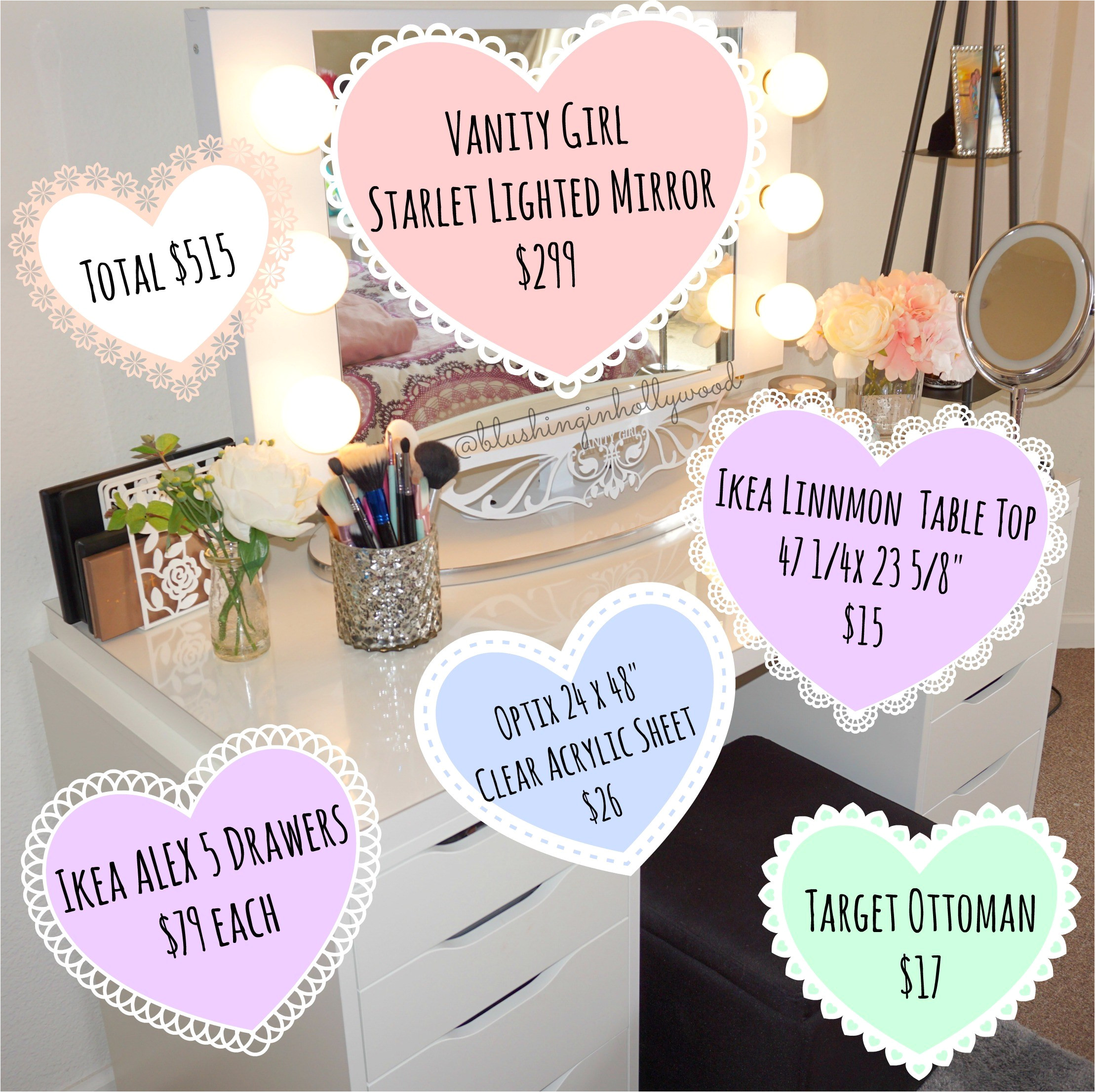 ikea alex vanity using a vanity girl hollywood starlet lighted mirror two ikea alex 5 drawers ikea linnmon table top clear acrylic sheet to protect the