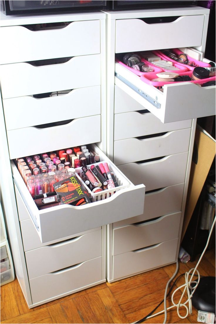 diva makeup queen diy ikea alex drawers for makeup collection storage