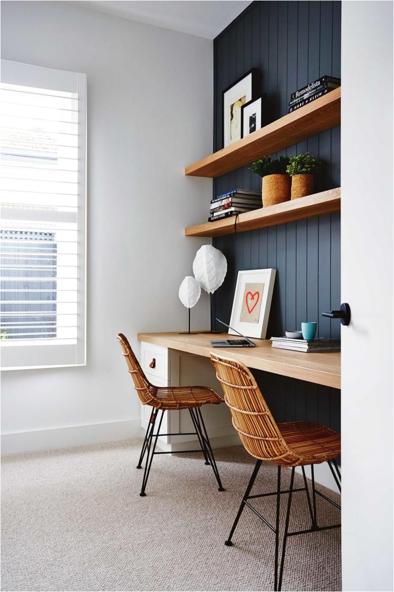 like dark paneled wall w natural wood shelves study perfection designed and styled by deanne jolly