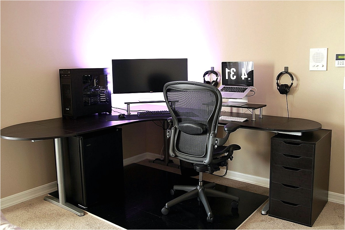 simple battlestation with ikea galant bekant desk in black intended for best and newest ikea galant