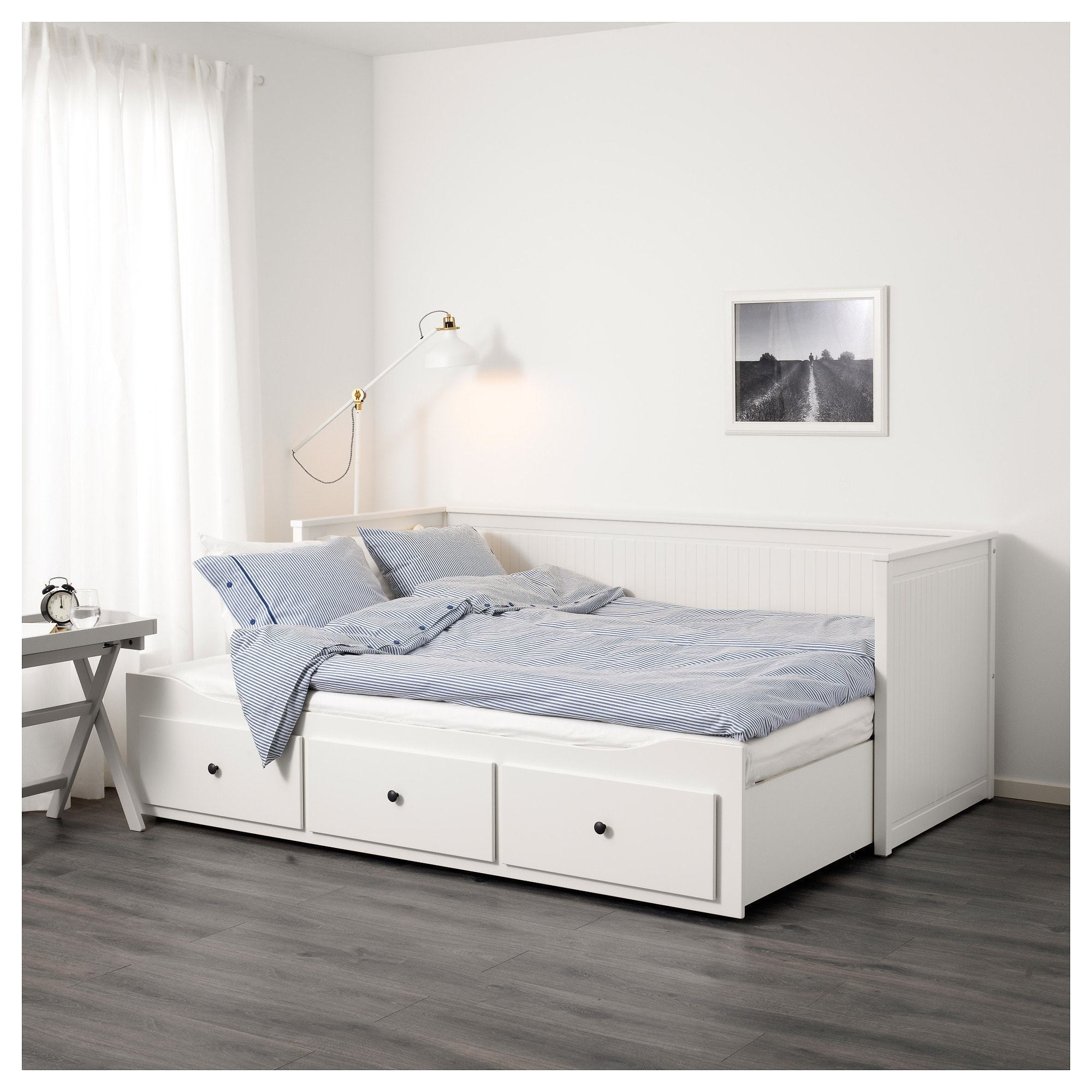 hemnes day bed frame with 3 drawers white