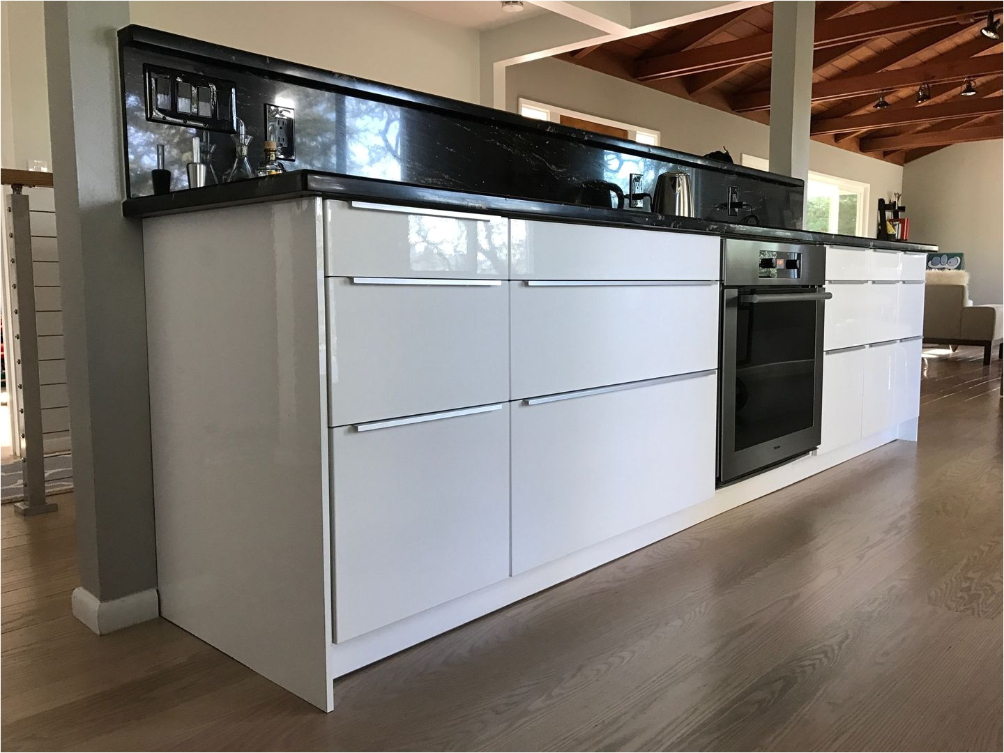 finished and completed ikea kitchen sektion cabinets ringhult white high gloss fronts with blankett handles follow us on instagram for more pictures