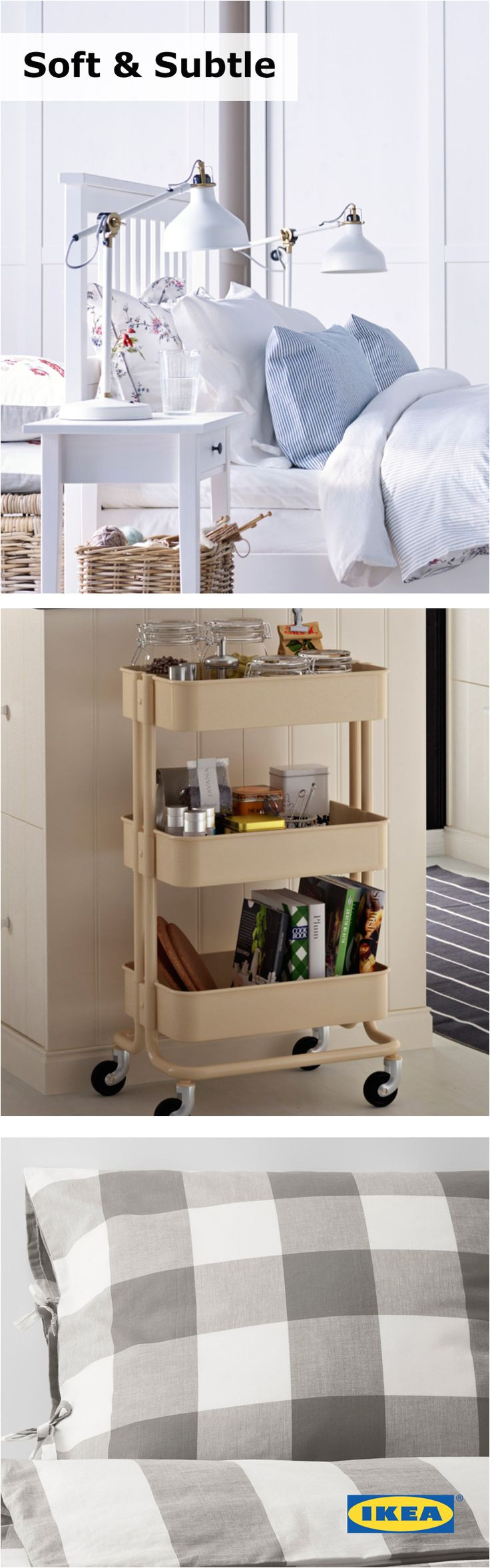 storage cart used as a night stand