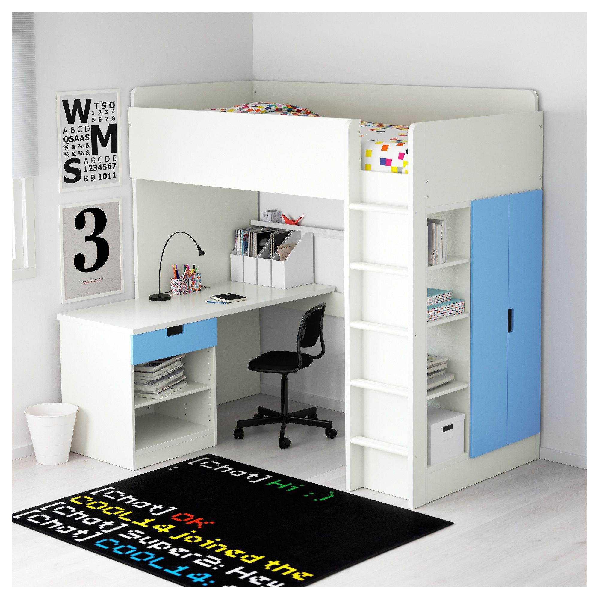 stuva loft bed combo w 1 drawer 2 doors white blue 207x99x193 cm ikea
