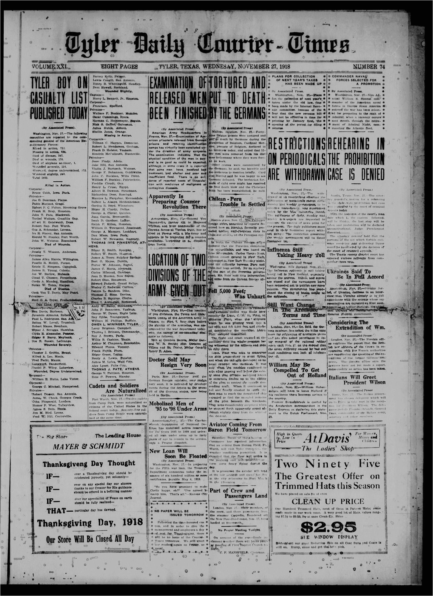 the tyler daily courier times tyler tex vol 21 no 74 ed 1 wednesday november 27 1918 page 1 of 4 the portal to texas history