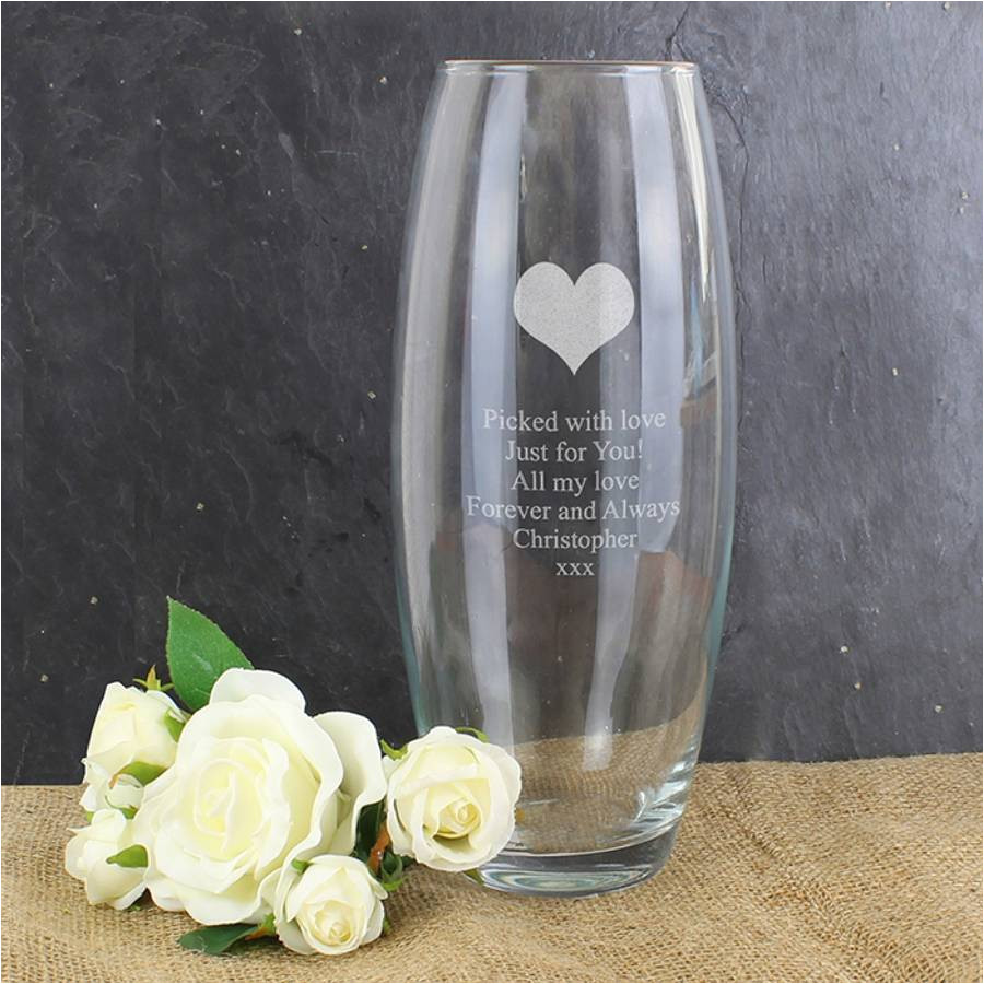 personalised heart vase gift