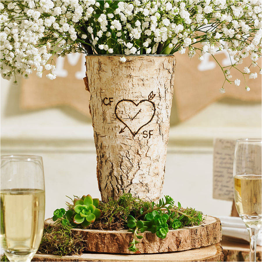 personalised rustic birch wood vase vases
