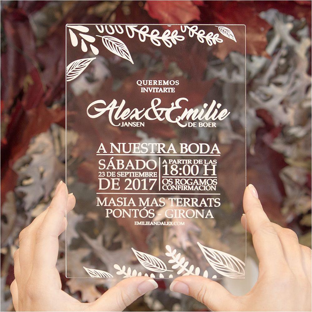 invitaciones en metacrilato de leloup barcelona