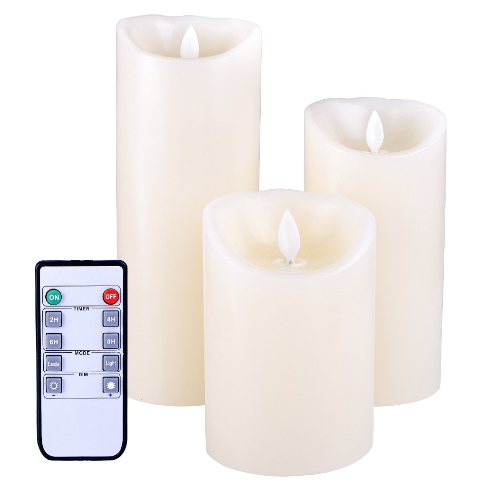 get quotations a flameless candles flickering light high pillar real smooth wax for gifts and decoration set of