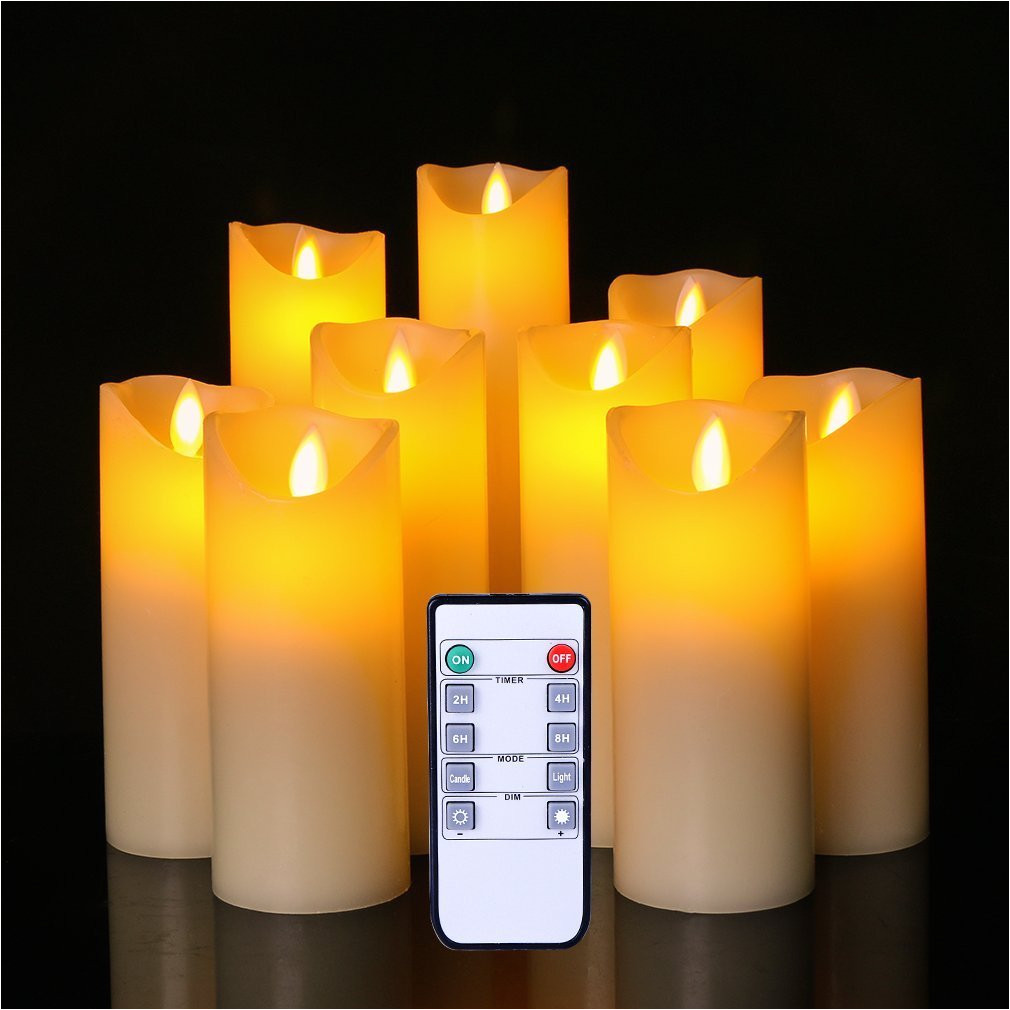amazon com flameless candles led flickering light pillar real drip pillar wax for wedding and decoration set of 9 home improvement