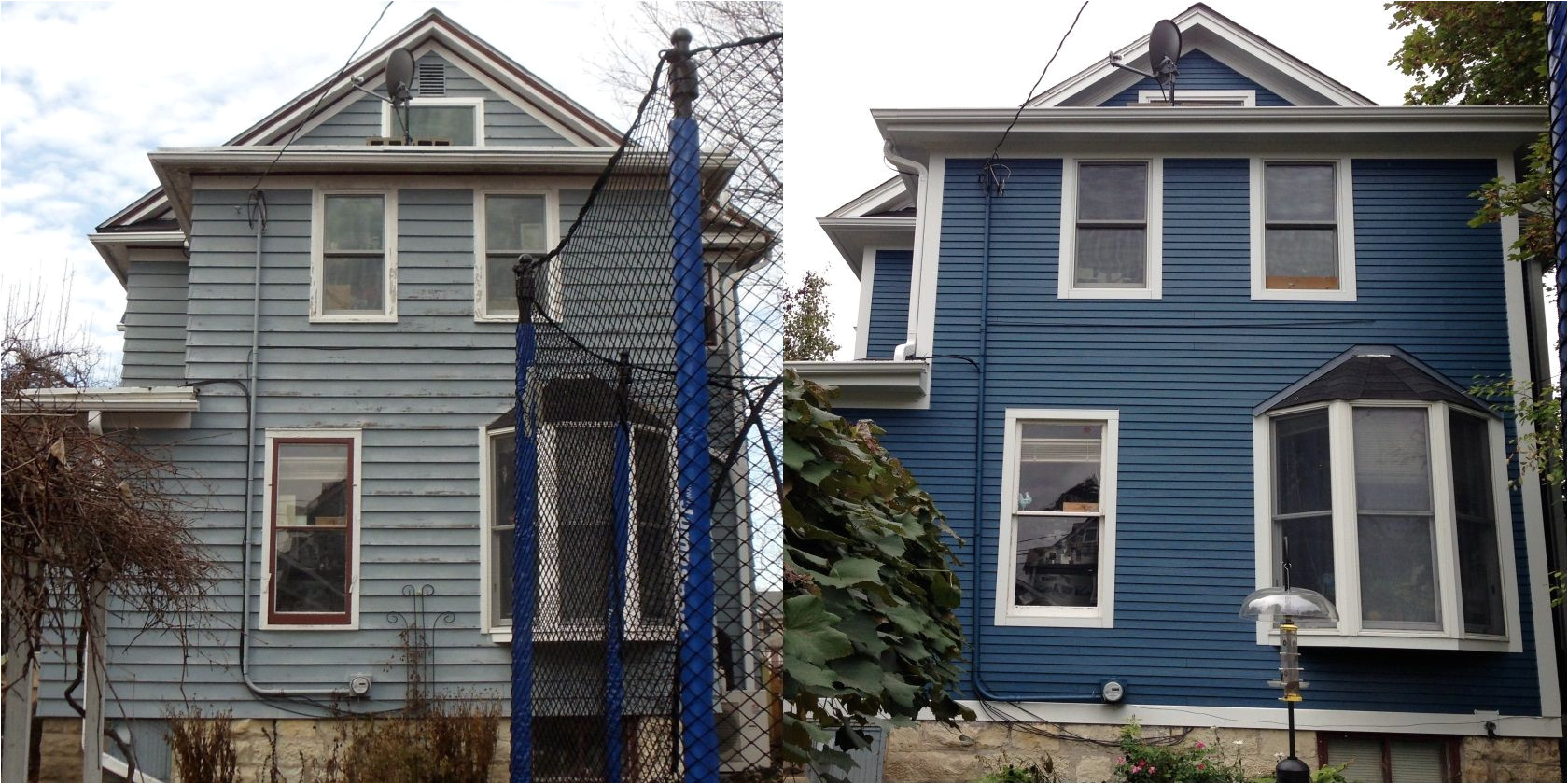 historic home remodel before after james hardie siding summer night custom color