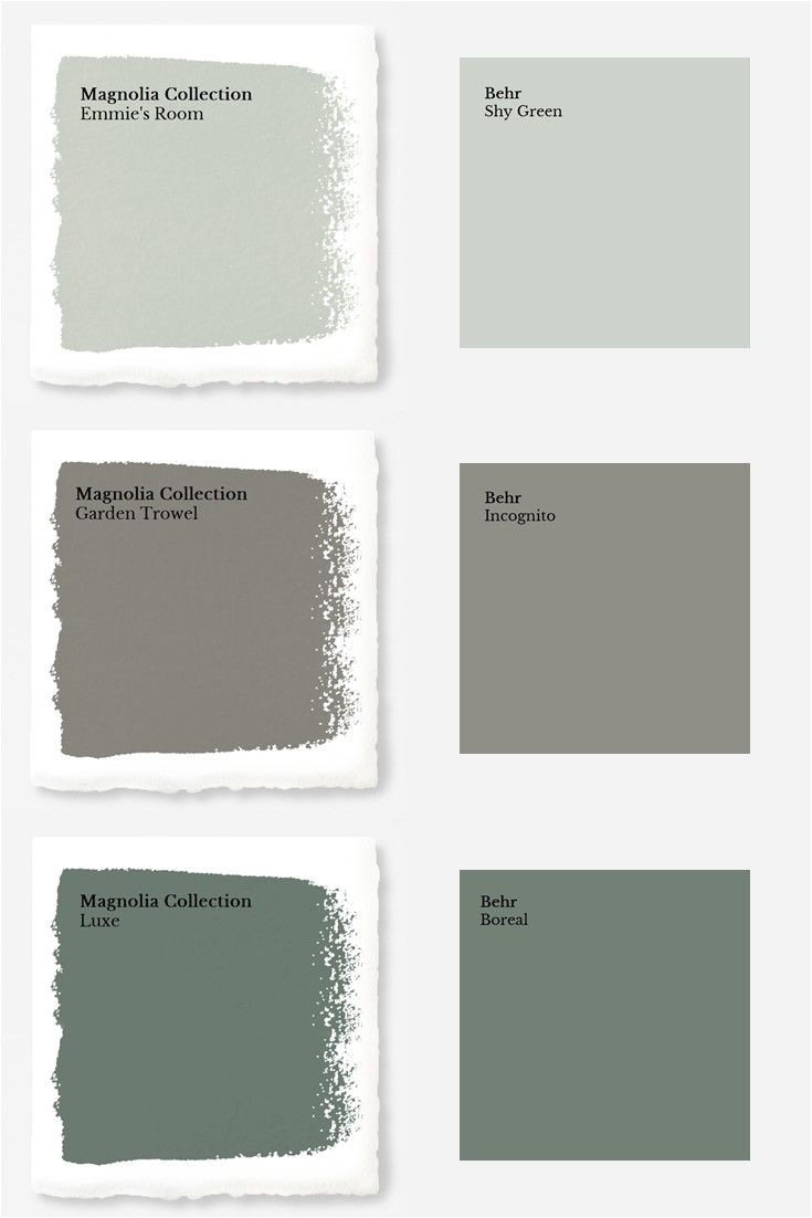 magnolia paint colors matched to behr
