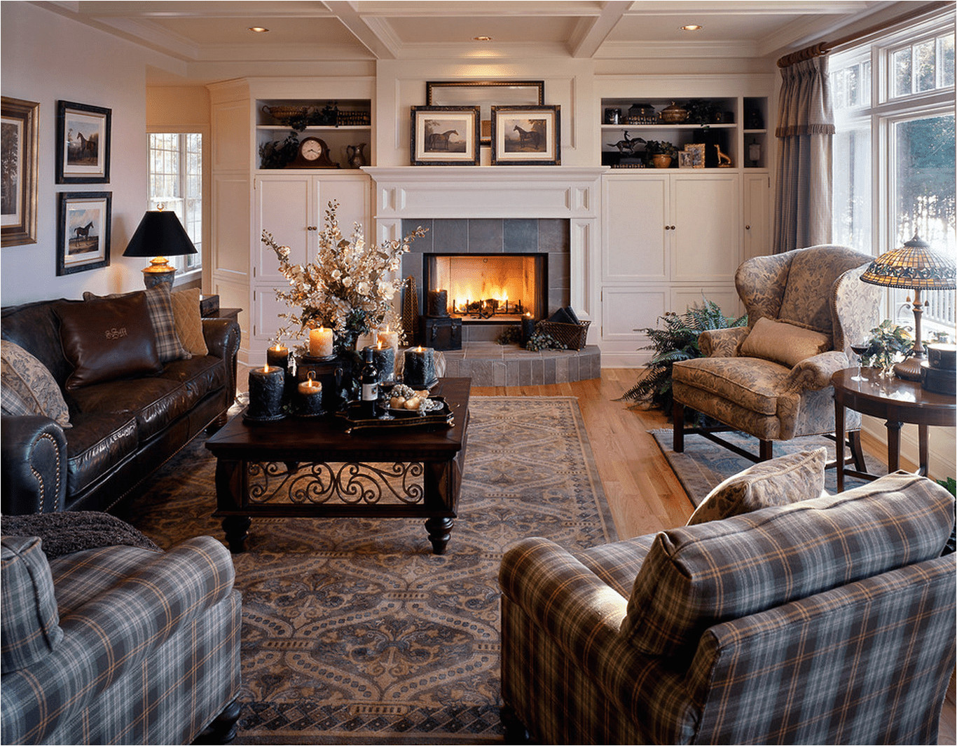 living room with plaid and leather furniture 589faf575f9b58819cb3fb05 png