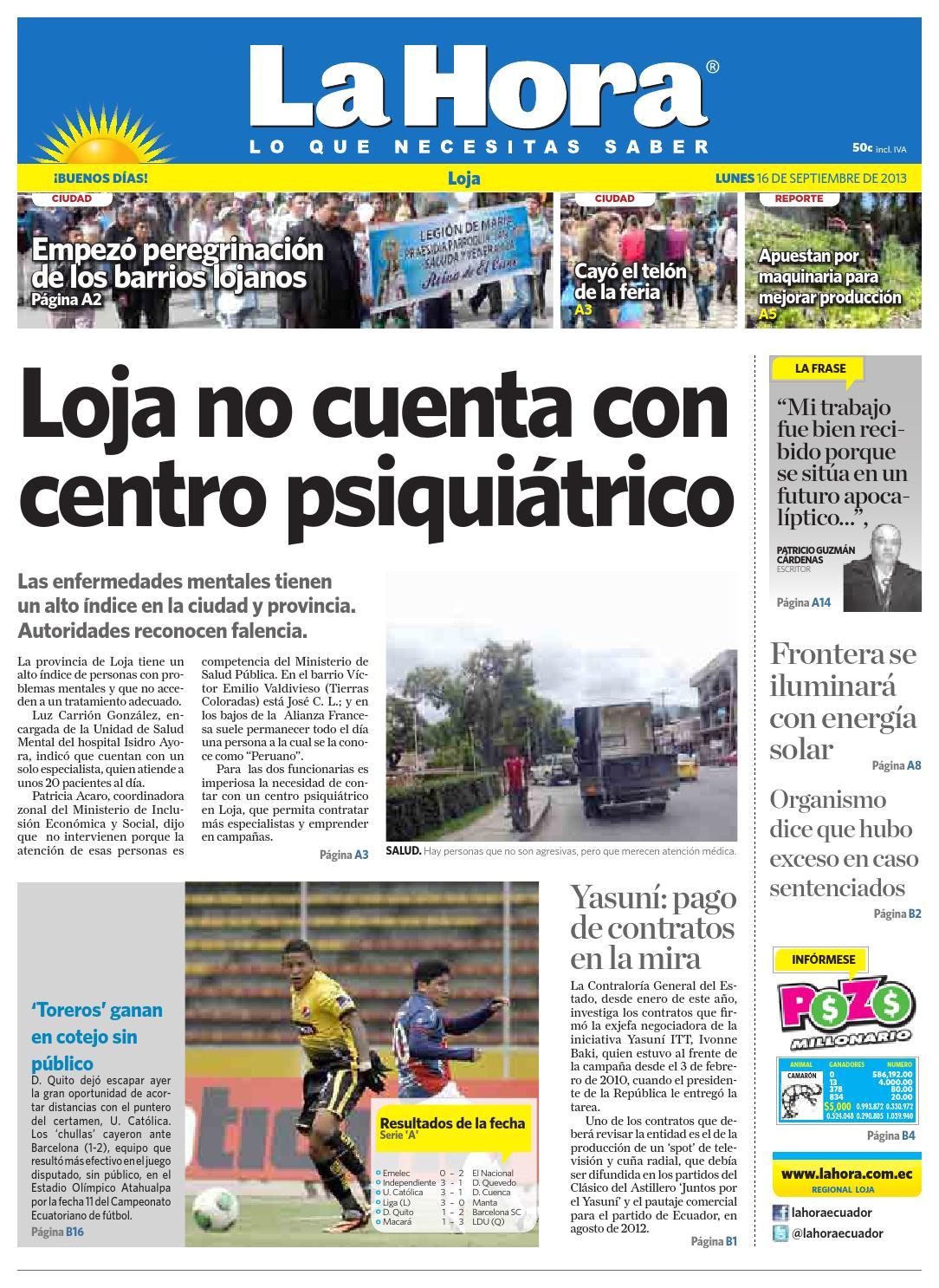 diario la hora loja 16 de septiembre 2013 by diario la hora ecuador issuu