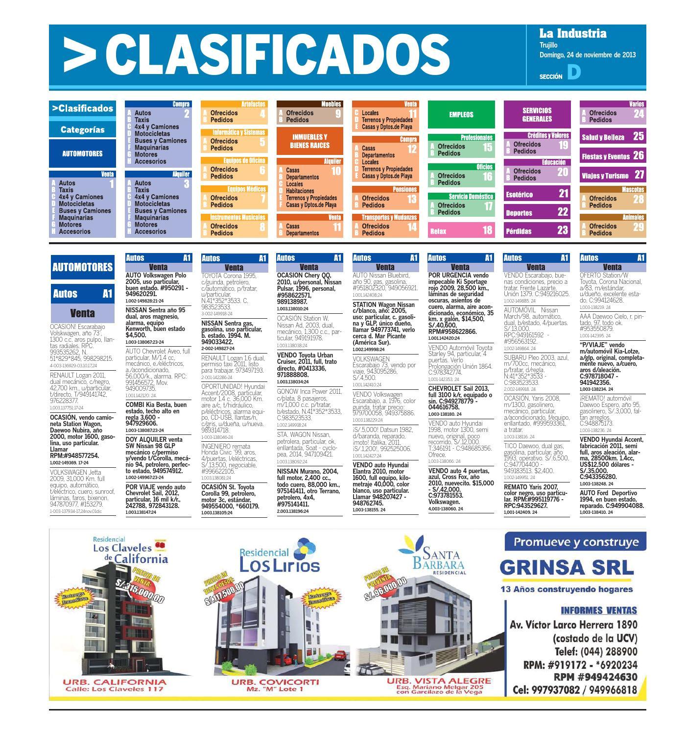 la industria trujillo clasificados 24 nov 2013 by alejandro obregon solano issuu