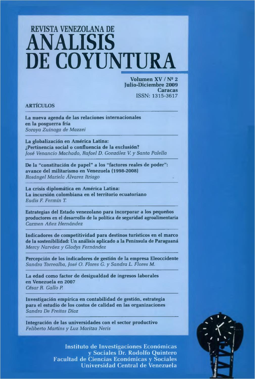 revista venezolana de analisis de coyuntura volumen xv nao 2 julio diciembre 2009 by instituto de investigaciones econa micas y sociales dr rodolfo