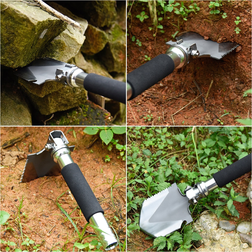 mini garden camping shovels multifunctional chinese military folding shovel outdoor survival pocket tools high carbon steel