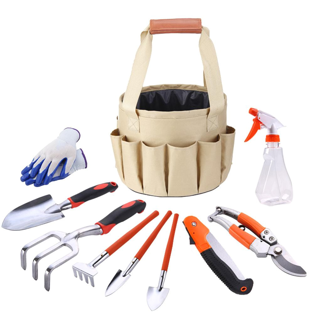 10pcs set garden kit gloves rake fork pickaxe spade shovel knife water spray bottle garden