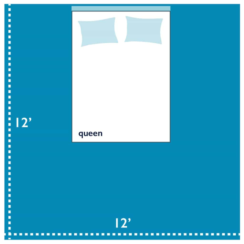 queen size bedroom in a 12x12 foot bedroom