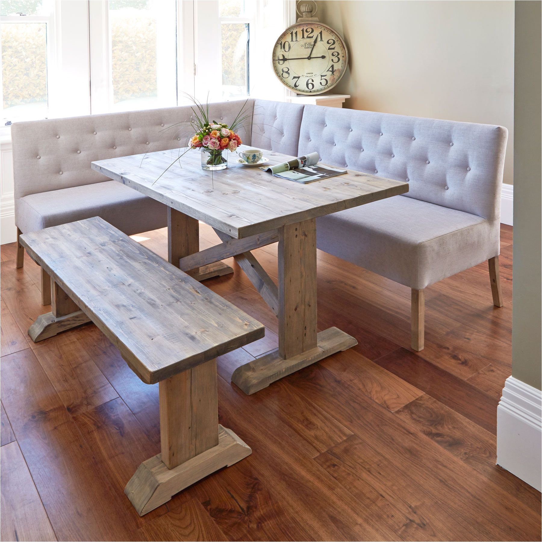 alina dining table with corner and small bench