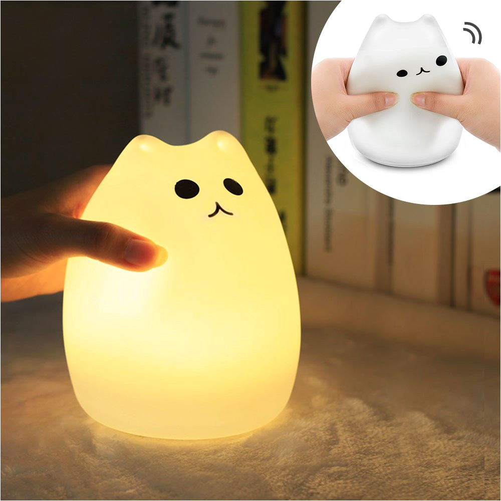 amazon com mystery cat night light for kids soft silicone led baby nursery sleep relaxing tap light children toy nightlight decorative desk light for