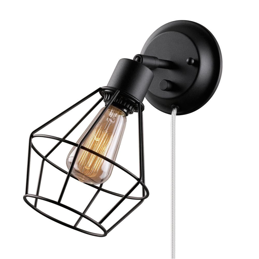 globe electric 1 light black shade plug in wall sconce with clear 6 in cord
