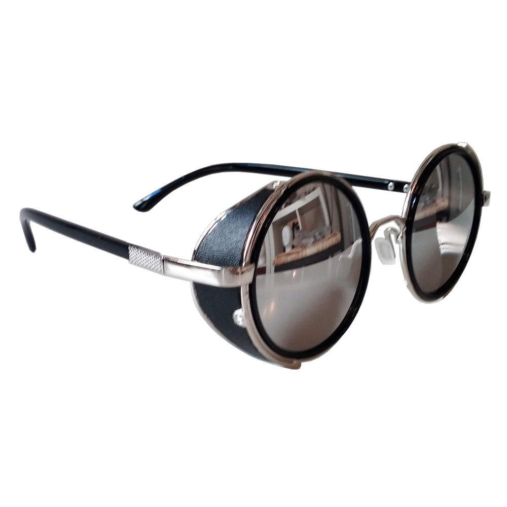 Leather Side Shields for Glasses Sunglasses Round Sunglasses Silver Frames Mirrored Lenses Side Shields