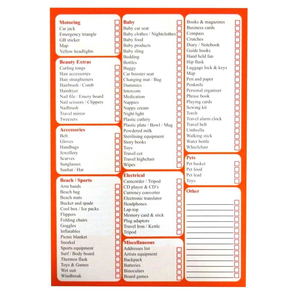 a5 travel holiday checklist and planner 50 sheets per pad double sided size 210mm x 148mm amazon co uk office products