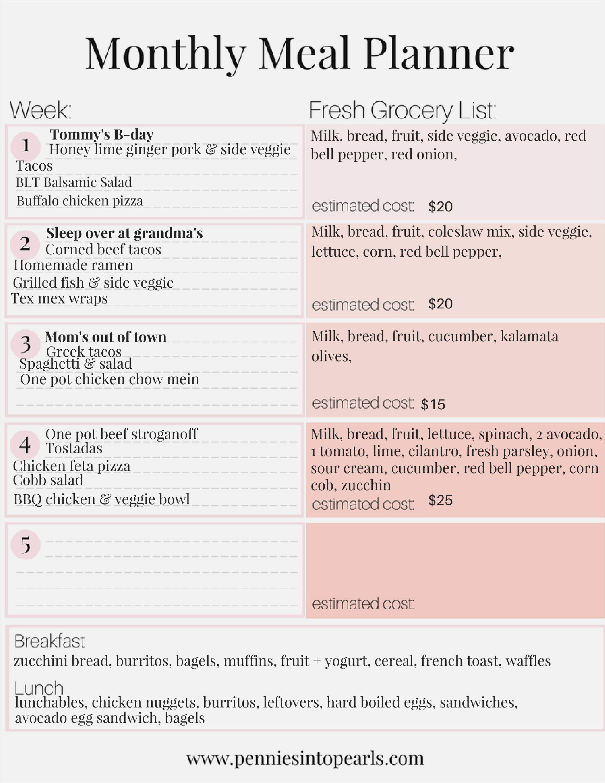 Living Well Spending Less Meal Plan 300 Monthly Meal Plan On A Budget Free Printable