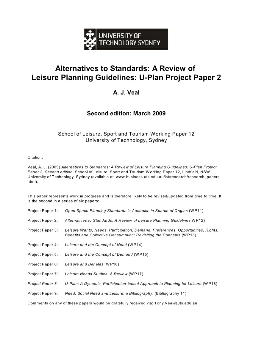 pdf alternatives to standards a review of leisure planning guidelines u plan project paper 2